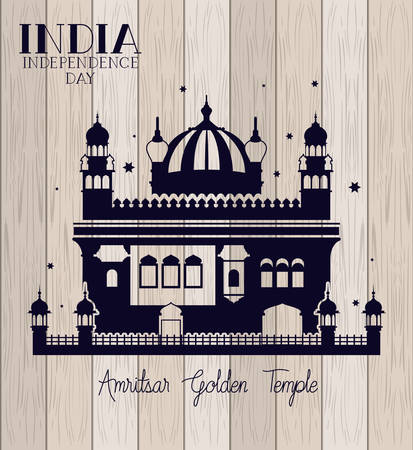 indian amritsar golden temple with wooden background vector illustration design