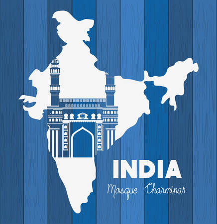 indian mosque chaminar temple with map background vector illustration design