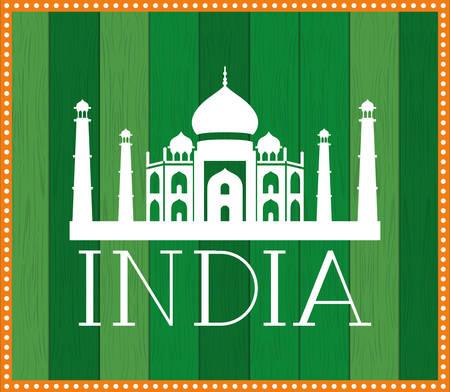 indian taj majal temple with green background vector illustration design