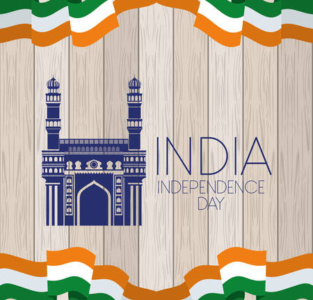 indian mosque chaminar temple with flag in wooden background vector design Vetores
