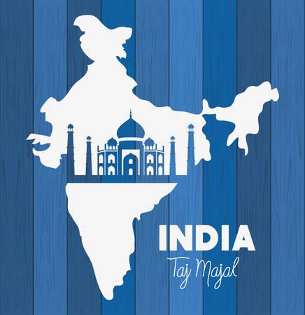 indian taj majal temple with map background vector illustration design