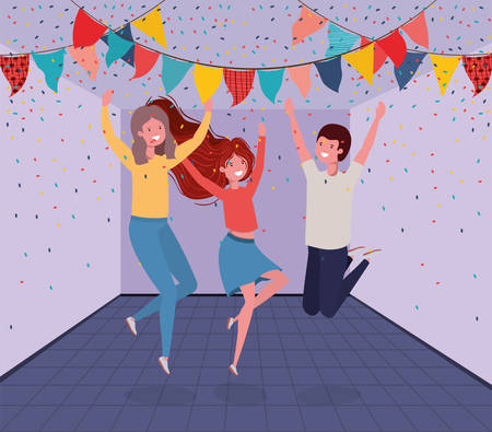 young people dancing in the room vector illustration design