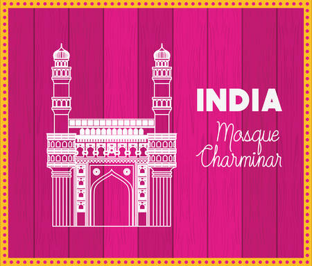 indian mosque chaminar temple with purple background vector illustration design