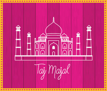 indian taj majal temple with purple background vector illustration design Foto de archivo - 130580404