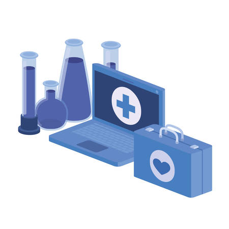laptop and laboratory instruments isolated icon vector illustration design Vectores