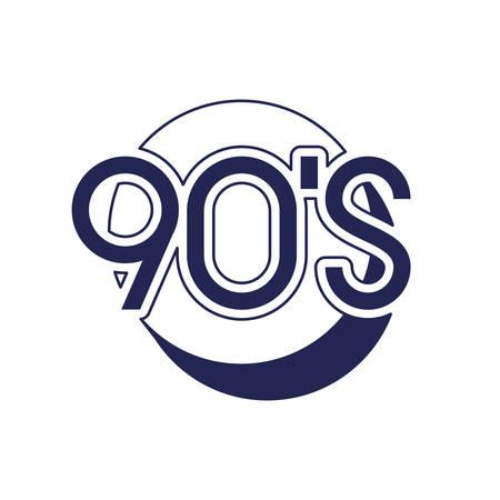 nineties decade number with circle icon vector illustration design Ilustração