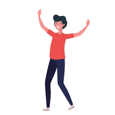 young man dancing in white background vector illustration design 矢量图像