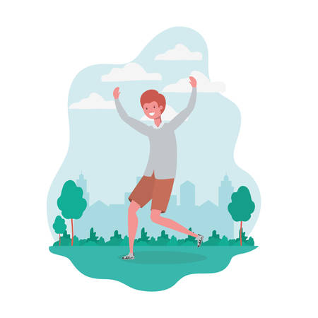 man dancing in landscape with trees and plants vector illustration design 矢量图像