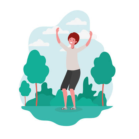 man dancing in landscape with trees and plants vector illustration design Vektorové ilustrace