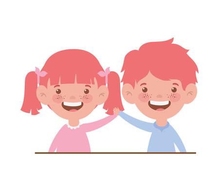 couple baby smiling on white background vector illustration design