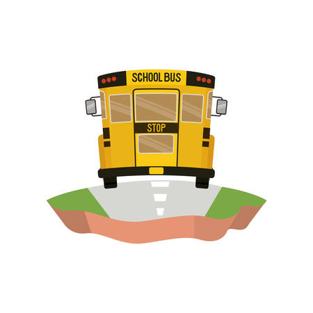 school bus on the highway isolated icon vector illustration design  イラスト・ベクター素材