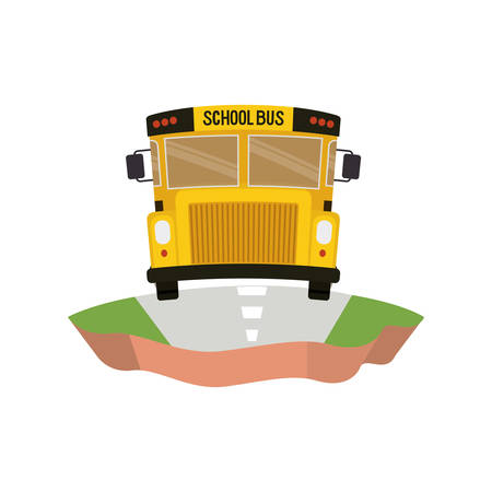 school bus on the highway isolated icon vector illustration design