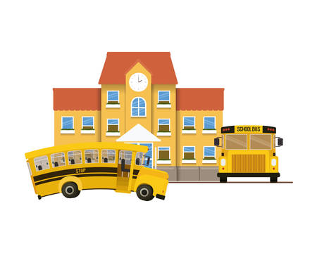 school building of primary with bus icon vector illustration design