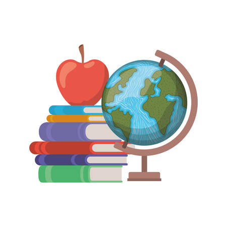 stack of books with globe on white background vector illustration design
