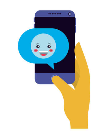 smartphone sending happy emoji character vector illustration design