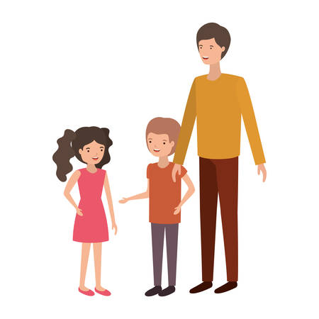 man with children avatar character vector illustration design