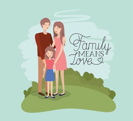carte de jour de famille avec les parents et la fille dans la conception d'illustration vectorielle sur le terrain Vecteurs