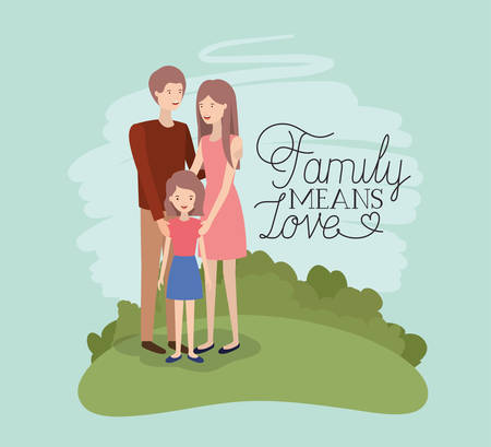 family day card with parents and daughter in the field vector illustration design Vecteurs
