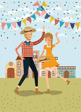 farmers couple celebrating with garlands and cityscape vector illustration design Banque d'images - 126175247