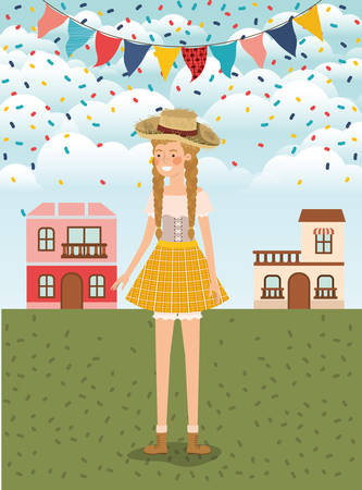 female farmer celebrating with garlands and cityscape vector illustration design Banque d'images - 126186151