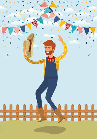 young farmer celebrating with garlands and fence vector illustration design Banque d'images - 126195084