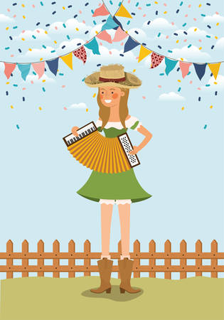 female farmer playing accordion with garlands and fence vector illustration design Banque d'images - 126194866