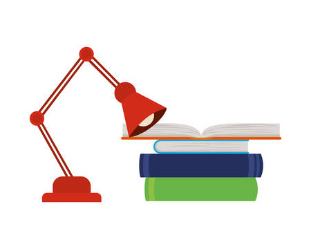 stack of books and lamp on white background vector illustration design