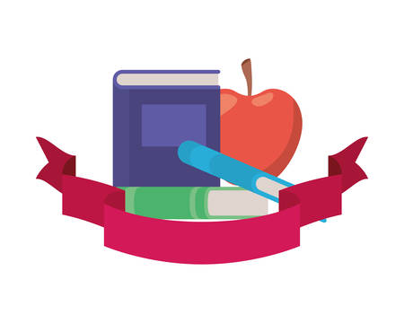 stack of books with apple fruit and ribbon vector illustration design
