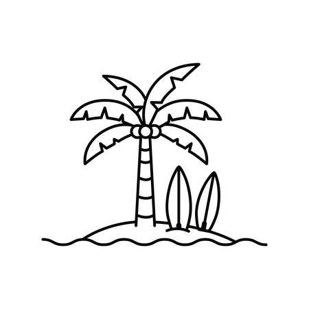 palm tree with surfboard in white background vector illustration design