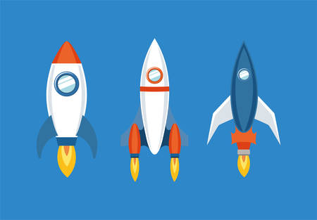 Rocket icon set design, Spaceship aircraft start up shuttle technology and travel theme Vector illustration Ilustração
