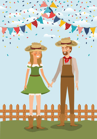 farmers couple celebrating with garlands and fence vector illustration design Banque d'images - 126280587