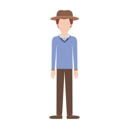 faceless man with hat and sweater and pants and shoes with stubble beard on colorful silhouette vector illustration