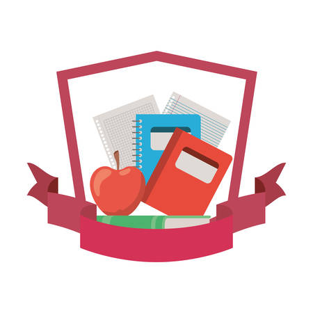 frame with stack of books and apple fruit vector illustration design