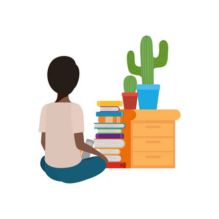 man sitting with stack of books vector illustration design