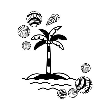palm tree with coconut in white background vector illustration design