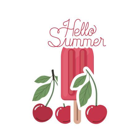 hello summer label with cherry ice cream vector illustration design Vector Illustration