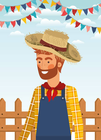 young farmer celebrating with garlands and fence vector illustration design Banque d'images - 126382302
