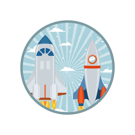 frame with rocket taking off icon vector illustration design