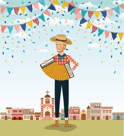 young farmer playing accordion with garlands and cityscape vector illustration Banque d'images - 126321996