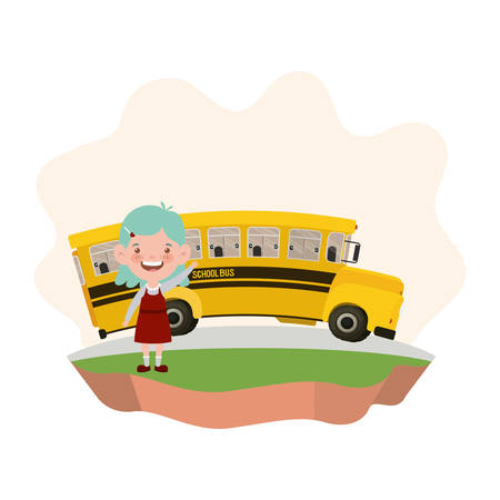 student girl with school bus on the highway vector illustration design