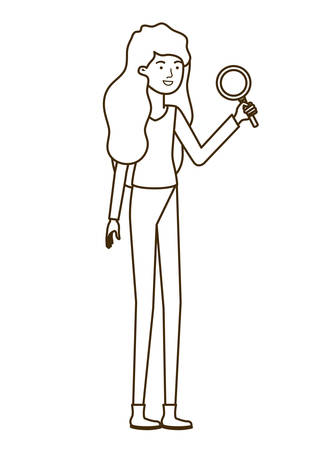 woman with magnifying glass in white background vector illustration design