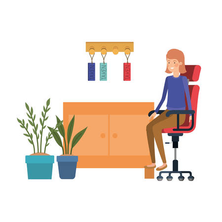 woman sitting in the work office with white background vector illustration design Illustration