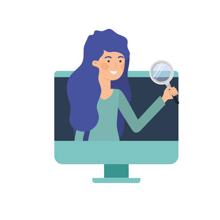 woman on computer screen with white background vector illustration design