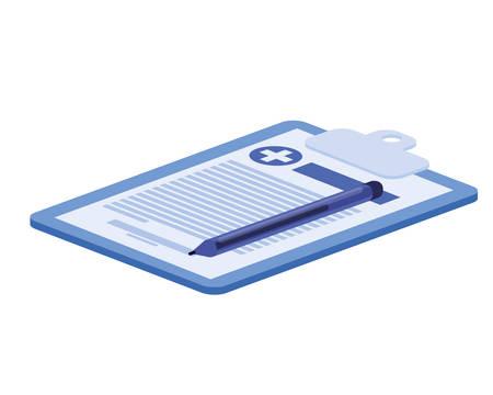 antécédents cliniques du patient dans la conception d'illustration vectorielle fond blanc