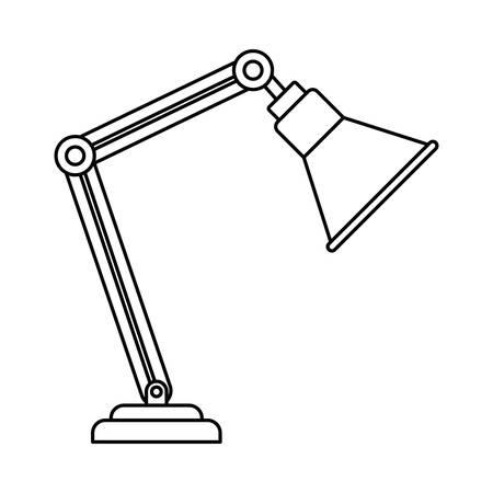 Silueta de lámpara de oficina sobre fondo blanco, diseño de ilustraciones vectoriales