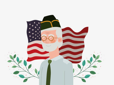 memorial day card with veteran and usa flag vector illustration design Illustration
