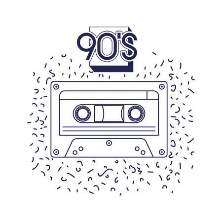 retro cassette music icon vector illustration design 向量圖像