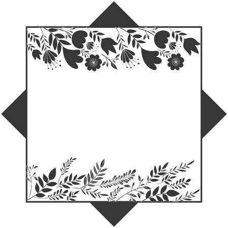 frame with flowers and leafs icon vector illustration design Illustration