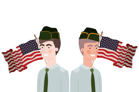 men soldiers of war with flag of united states background r vector illustration design