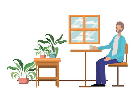 man drinking coffee in the living room vector illustration design